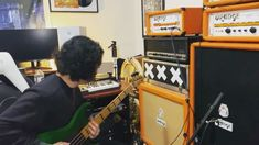 "Michael Herman on Instagram: ""fuckin around in @alfosnose studio #orangeamps"" Orange Amps, Band, Studio, Instagram, Sash, Studios, Bands"