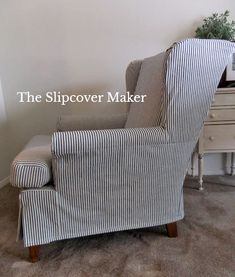 Old Ticking Stripe for New Slipcover Vintage ticking used to make this custom slipcover for an comfy wingback club chair. Wingback Chair Slipcovers, Custom Slipcovers, Sectional Slipcover, Reupholster Furniture, Furniture Upholstery, Retro Furniture, Upholstered Chairs, Swivel Chair, Furniture Design