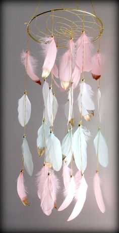 Blush Pink and Mint Baby Mobile Dream catcher Mobile Boho Feather Mobile Nursery Mobile Woodland Mobile Native American Style Rosa Coral, Coral Pink, Blush Pink, Dream Catcher White, Dream Catcher Boho, Gold Nursery, Nursery Decor, Diy Kids Room, Ikea Deco