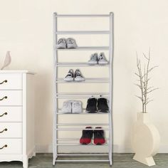 Freestanding Shoe Rack Home Entryway Floor Steel Wire Storage Organizer Compact