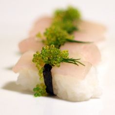 mini nigiri with wahoo, dill and wasabi tobiko