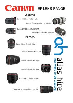 Our Canon EF L series Prime and Zoom lens range for hire Canon 35mm, Canon Ef Lenses, Hiring Now, Zoom Lens, Range, Ranges, Range Cooker