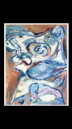 "Pierre Alechinsky - "" Tu causes, tu causes ..."", 1960 - Huile sur toile - 80 x 63,5 cm"