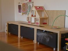 Playroom: I have a couple lack tables -add some bins on casters