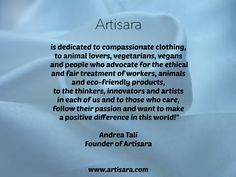 Who is our fashion accessories brand ARTISARA dedicated to? To all animal lovers, vegetarians and vegans and to ... www.artisara.com