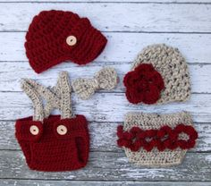 Vintage Twin Photography Prop Set in Cranberry and Oatmeal Available in Newborn Size- MADE TO ORDER. $68.00, via Etsy.