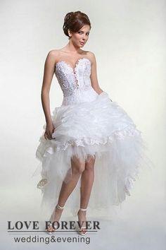 d35e40e52775 organza pizzo bianco abito da ballo vendita calda abito da sposa corto  davanti lungo dietro Short