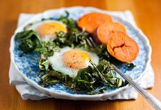 Pan Crisped Greens with Eggs and Sweet Potato