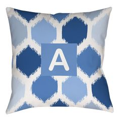 "Latitude Run Sandell Indoor/Outdoor Throw Pillow Size: 16"" H x 16"" W x 4"" D, Color: Pink, Letter: O"