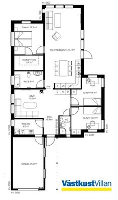Schwedenhaus bungalow grundriss  Schwedenhaus SkandiHaus 1-geschossig 144 Grundriss 144-7 ...