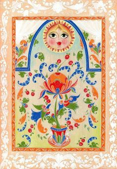 Folk Boretsk painting from Northern Russia. A floral pattern with birds and the… Painting Words, Tole Painting, Fabric Painting, Folk Art Flowers, Flower Art, Russian Folk Art, Folk Embroidery, Zen Art, Mexican Art