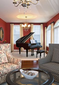 Need a chandelier over my piano. A piano room for intimate gatherings and inspired performances Room Interior Design, Interior Design Services, Bauhaus, Piano Room Decor, Piano Living Rooms, Piano Pictures, Home And Living, Instruments, New Homes