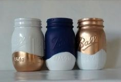 Painted Mason jars, Vase. Blue, Gold and white, shower centerpiece, desk organizer, home decor..set of 2