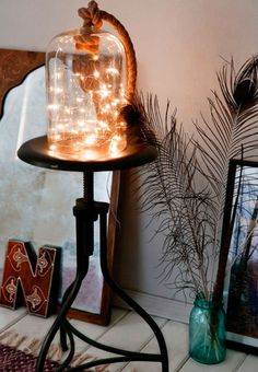 Super Cozy Ways To Use String Lights In Your Home Put a battery-powered strand of string lights in a bell jar for an artsy DIY light.Put a battery-powered strand of string lights in a bell jar for an artsy DIY light. Cozy Bedroom, Bedroom Decor, Coziest Bedroom, Bedroom Ideas, Budget Bedroom, Trendy Bedroom, Bedroom Ceiling, Bedroom Lighting, Home Lighting