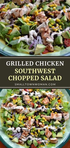 Grilled Chicken Southwest Chopped Salad has a medley of fantastic flavors that tantalize your taste buds! This healthy Father's Day menu idea is already a full meal, loaded with protein and vegetables. Prepare the chipotle ranch dressing ahead to cut down the prep time! Healthy Salads, Healthy Eating, Healthy Recipes, Protein Recipes, Yummy Recipes, Vegetarian Recipes, Healthy Food, Yummy Food, Lunch Recipes