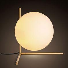 Cattel Modern Globe Glass Shade Slender Frame Table Lamp in Brass - Table Lamps - Lamps - Lighting