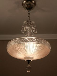 Chandelier - beautiful - love the subtle colour---use lula hoop and embroidery hoop. connect with sheer/guazy fabric for similar look Antique Chandelier, Antique Lamps, Chandeliers, Vintage Lamps, Vintage Lighting, Chandelier Lighting, Art Deco Chandelier, Glass Chandelier, Pendant Lamp