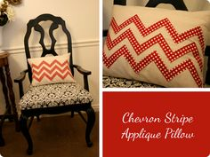 pillow using sihouette to cut out chevron pattern