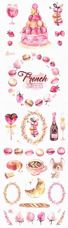 This is an french collection of sweets includes 40 handpainted watercolor images. Perfect graphic for diy projects, brand identity, invitations, cards, logos, photos, posters, wallarts, quotes, diy and more. ----------------------------------------------------------------- INSTANT DOWNLOAD Once payment is cleared, you can download your files directly from your Etsy account. ----------------------------------------------------------------- This listing includes: 40 x Different Graphic El...
