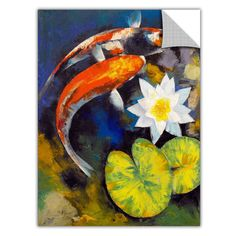 """Koi fish are the domesticated variety of common carp. Actually, the word """"koi"""" comes from the Japanese word that means """"carp"""". Outdoor koi ponds are relaxing. Lily Painting, Painting Prints, Art Prints, Framed Prints, Framed Wall, Koi Kunst, Koi Art, Canvas Art, Canvas Prints"""