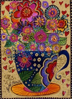 Folk Art Flowers, Flower Art, Bullet Art, Laurel Burch, Zen Art, Silk Painting, Art Forms, Printable Art, Collage Art