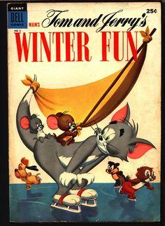 TOM and JERRY Winter Fun #3 1954 Dell Giant Comics, Hanna Barbera, Cartoons, Droopy, Barney Bear,
