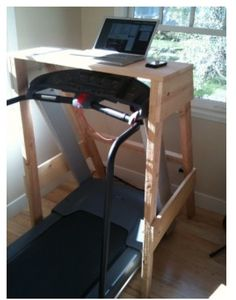 DIY - Treadmill Laptop Computer Stand - Can Lifetime invest please? Either Lifetime needs it or someone needs to build me one and buy me a treadmill lol Home Office, Office Desk, Treadmill Desk, Ideas Para Organizar, Laptop Stand, Workout Rooms, Home Projects, Diy Furniture, Home Improvement