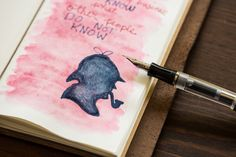 Sherlock Holmes drawing with Nemosine Singularity fountain pens and De Atramentis ink.
