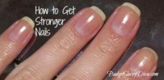 For stronger nails:  Boil 1 cup of water, then add add 1/2 oz of gelatin.  Mix together and let cool to a temperature that won't burn your fingers. Once at a comfortable temp, dip nails in mixture for about 2 minutes, then rinse.