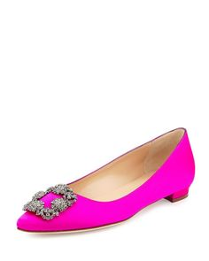 Get the must-have flats of this season! These Manolo Blahnik Medium Pink Hangisi Crystal-buckle Satin Flats Size EU 38 (Approx. US Regular (M, B) are a top 10 member favorite on Tradesy. Stiletto Heels, High Heels, Manolo Blahnik Hangisi, Pink Flats, Women's Flats, Comfortable Flats, Latest Shoes, Fashion Heels, Fasion