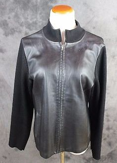 Gorgeous leather/wool jacket by pendleton.There are a couple of tiny spots on the front (see photo). Zip Sweater, Sweater Jacket, Leather Vest, Wool, Sweaters, Jackets, Fashion, Down Jackets, Moda