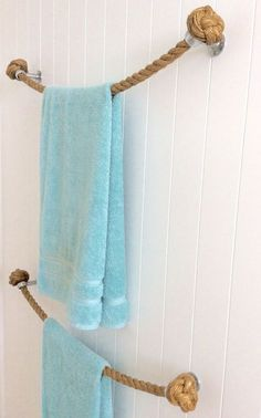 TOWEL HOLDER RACK Rail Handmade Nautical Natural Manila Rope Decor For  Bathroom Or Kitchen