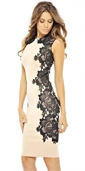 chic cocktail φόρεμα με πλαϊνά δαντέλα ADW11NUDE/BLACK