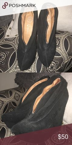 Jeffrey Campbell wedge shoes Black suede Jeffery Campbell wedge heels. Only worn a few times- great condition. Size 6. Adorable with skinny jeans! Jeffrey Campbell Shoes Wedges