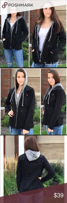 🌸 Black Utility Jacket Black hoodie utility jacket. The perfect fall weather jacket, draw string Waist and two front functioning pockets. Size Small, Medium, Large Jackets & Coats Utility Jackets