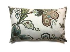 One Aqua Olive Green Taupe Brown 12x18 inch Lumbar Pillow Cover Decorative Toss Throw Accent Cover. $17.00, via Etsy.