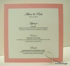 Wedding Reception Menu Cards in Custom Color Elegant by wedology, $3.00