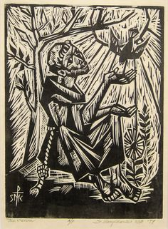 Sister Mary Charles McGough, OSB, The Vision (St. Francis), 1979 Woodcut on paper, A/P. Collection of St. Scholastica Monastery