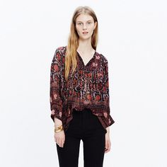 As the daughter of archaeologists, Manhattan-born Ulla Johnson went on some incredible family vacations. Her globe-trotting childhood comes through in her thoughtful, subtly embellished designs that (surprise) also happen to be pretty great to travel in. Take this silk peasant blouse with its swingy shape and intricate print—it's ready to go anywhere. <ul><li>True to size.</li><li>Silk georgette.</li><li>Dry clean.</li><li>Import.</li><li>Madewell.com only.</li></ul>
