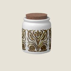 Store your snacks and treats in style with a custom candy jar from Zazzle. Made of bright white porcelain, this candy jar has a brilliant luster that makes our designs look amazing. Dishwasher and microwave approved, your hard candy will be safe and secure in a custom candy jar from Zazzle. Vintage Art Noveau ornamental design in metalic texture, An elegant, stylish design for people that love the nostalgic, vintage look.