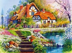 This is Bead Embroidery kit by Tela Artis (Ukraine). Size: x The kit includes: -fabric with the put drawing -beads Preciosa Ornela (Czech Republic) -needle -instructions -special threads The frame isnt included! Other landscape beaded embroidery kits: Landscape Art, Landscape Paintings, Belle Image Nature, Cottage Wallpaper, Thomas Kinkade, Diamond Art, Spring Home, Embroidery Kits, Beaded Embroidery