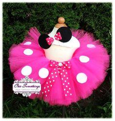 Minnie Mouse Tutu, Baby Tutu and puff headband set, 0-24m, Photo Prop, Childrens Toddler Infant Tutu,Halloween Costume, Birthday Pink Minnie