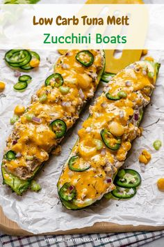 Low Carb Tuna Melt Zucchini Boats These Tuna Melts Zucchini Boats are the healthier and lighter version of the classic tuna melt recipe. They are a delicious low carb recipe that's perfect for a light lunch or brunch. Low Carb Dinner Recipes, Cooking Recipes, Healthy Recipes, Tuna Recipes, Healthy Food Blogs, Healthy Tuna, Healthy Eating, Classic Tuna Melt Recipe, Low Carb Mexican Food