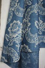 French Antique Indigo Resist pattern early 20th c curtain drape BLUE