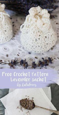 Free Crochet Pattern - Crochet Lavender Sachet, Wedding Favour Bags | Lululoves Blog #freecrochetpattern #crochet