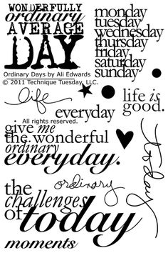 Technique Tuesday - Clear Acrylic Stamps - Ordinary Days by Ali Edwards at Scrapbook.com $14.99