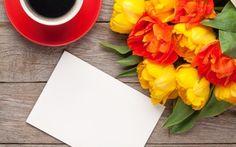 Обои романтичный, тюльпаны, кофе, букет, толани, цветы