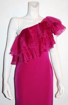 MARCHESA NOTTE Lipstick One Shoulder Ruffled Neckline Full Column Gown Size  #Dress #BallPromQuinceaera