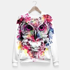 Owl Fitted Waist Sweater #owl #wild #animals #watercolor #colors #painting #men #women #fashion #moda #fashionblogger #fashionable #gift #sweaters