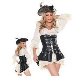 729819376 Aliexpress.com   Buy Leather pirate costume for Women New Halloween Cosplay  Costumes Dress Carnival